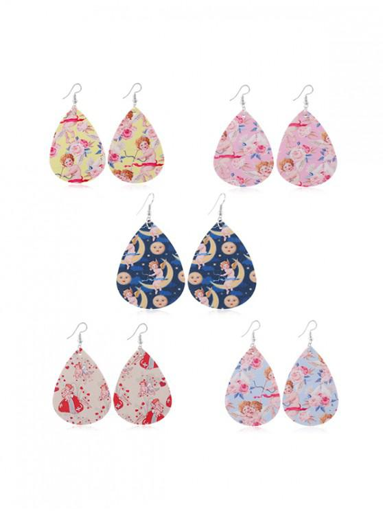 fancy 5Pairs Angel Print Teardrop Earrings Set - MULTI