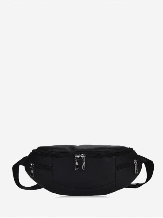 unique Expansion Pockets Crossbody Waist Bag - BLACK