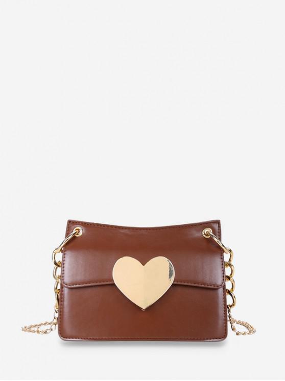 buy Heart Hasp Shoulder Bag - BROWN