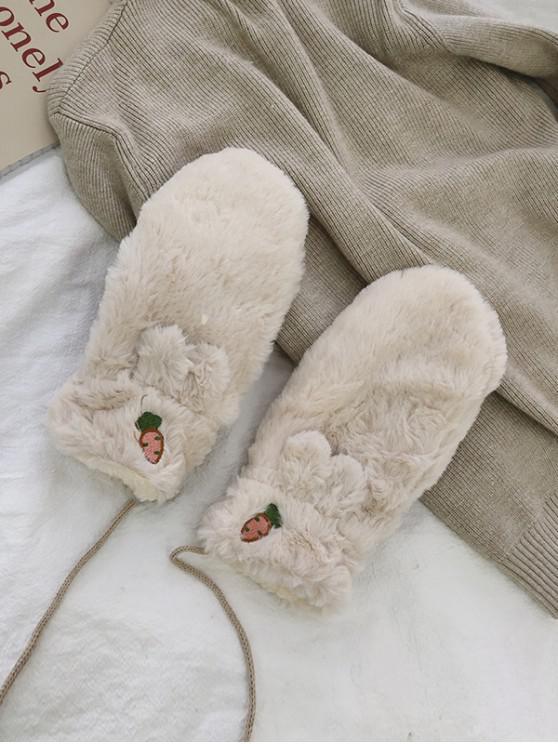 women Rabbit Ears Faux Fur Mitten Gloves - BEIGE