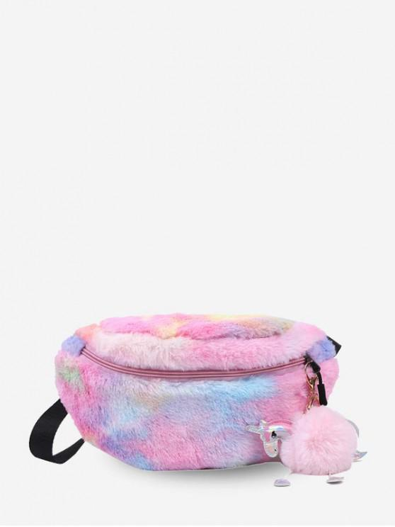 women's Unicorn Plush Crossbody Waist Bag - PIG PINK