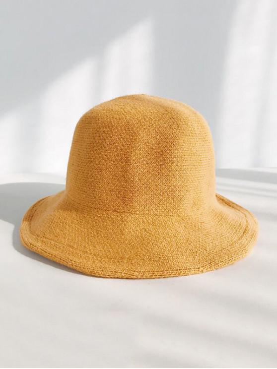 outfit Winter Wool Knitted Korean Bucket Cap - YELLOW