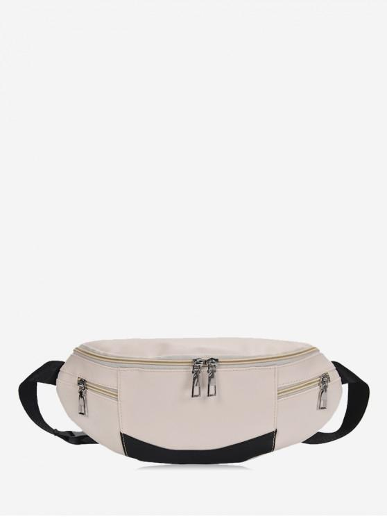 outfits Expansion Pockets Crossbody Waist Bag - WARM WHITE