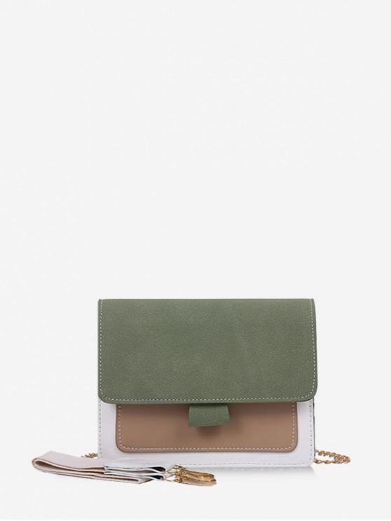 shop Convertible Strap Color-blocking Square Crossbody Bag - FERN GREEN