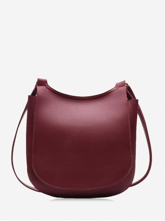 shops Casual Big Simple Solid Shoulder Bag - RED WINE