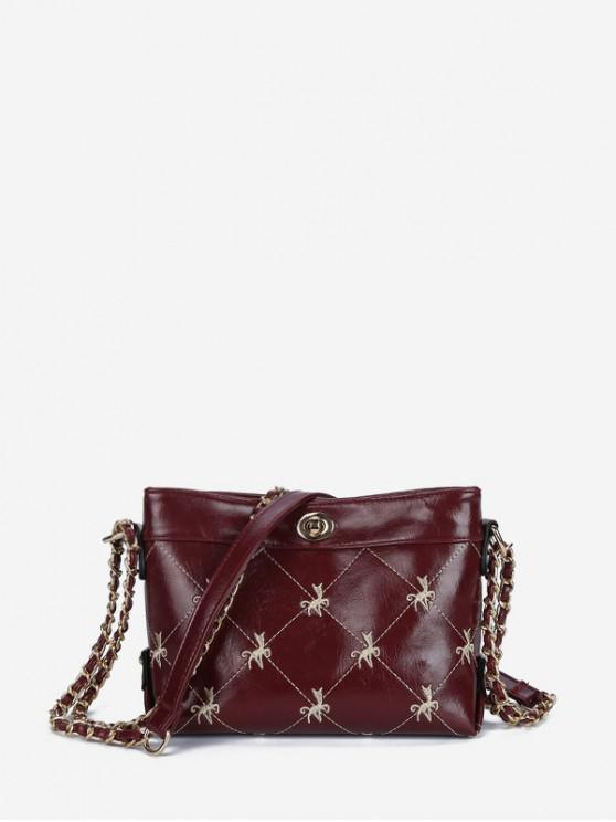 trendy Embroidered Hasp Chain Shoulder Bag - RED WINE