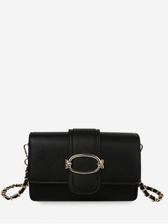 fashion Leather Solid Chain Shoulder Bag - BLACK