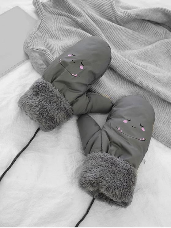 fancy Cartoon Pattern Fleece Mitten Gloves - GRAY