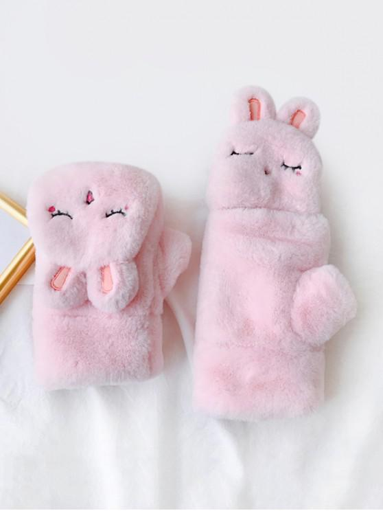 sale Winter Furry Rabbit Pattern Gloves - PINK