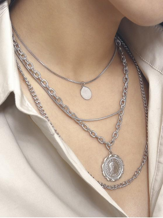 women's Round Portrait Multilayered Necklace - SILVER