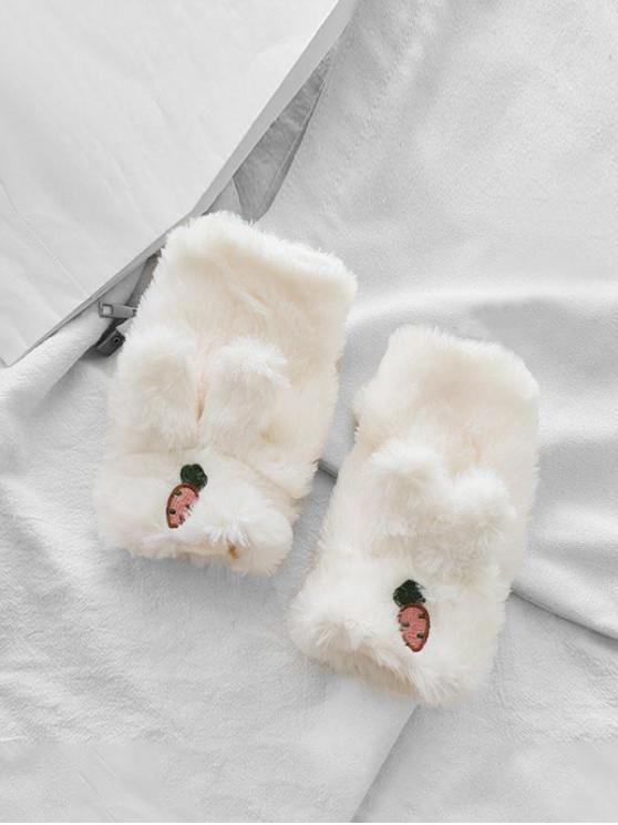 ladies Rabbit Ears Faux Fur Fingerless Mitten Gloves - WHITE
