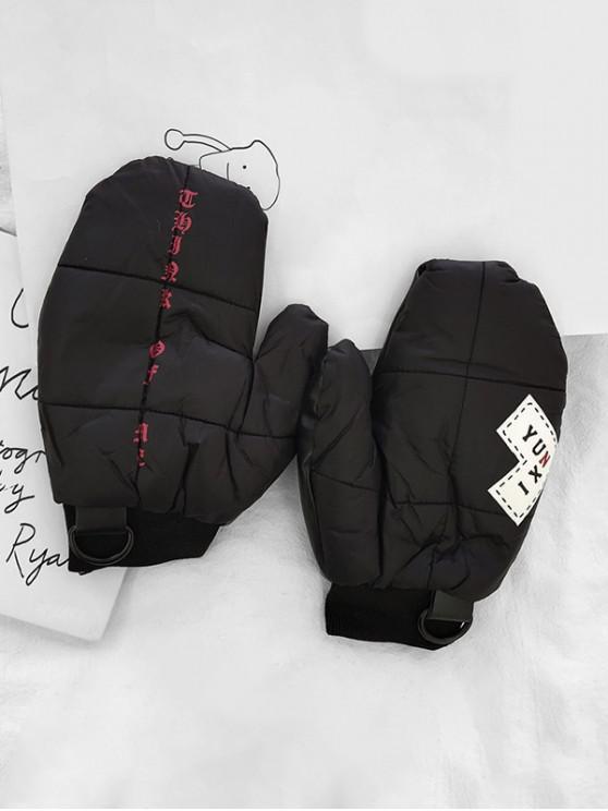 Gants d'Hiver Lettre Patchwork - Noir