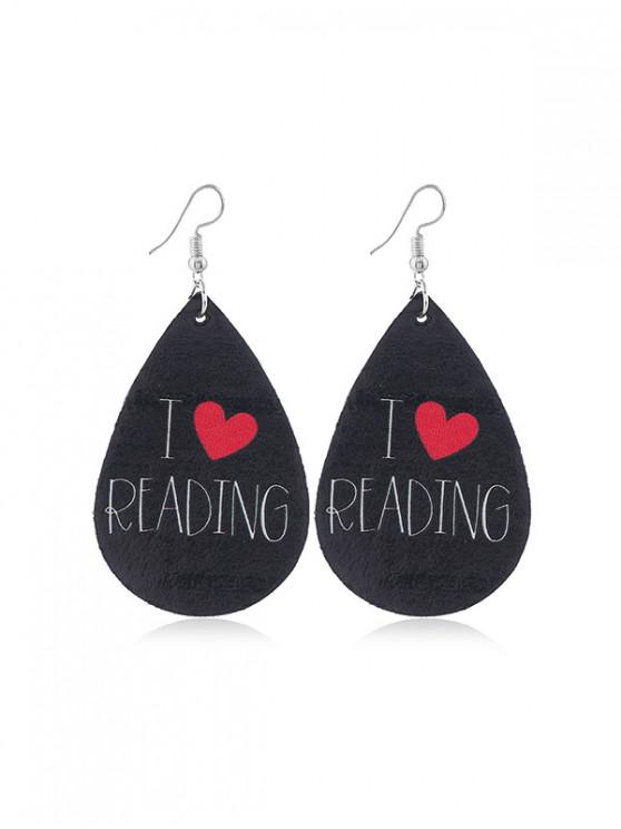 hot Water Drop Leather Letter Earrings - MULTI-B