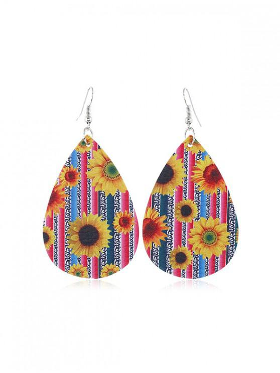 outfits Sunflower Leather Water Drop Earrings - MULTI-C