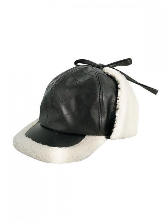 shop Winter Rhombic Furry Peaked Hat - BLACK