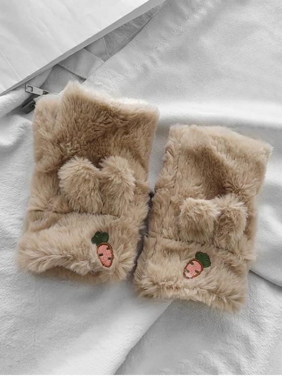 latest Rabbit Ears Faux Fur Fingerless Mitten Gloves - KHAKI