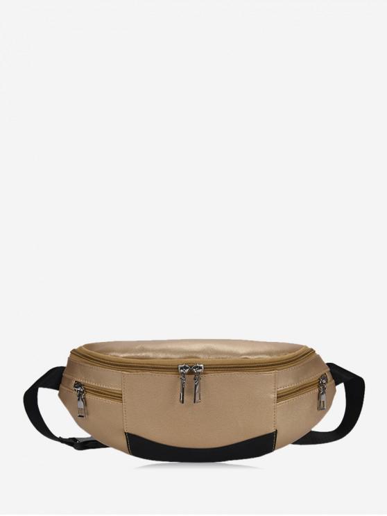 affordable Expansion Pockets Crossbody Waist Bag - GOLD