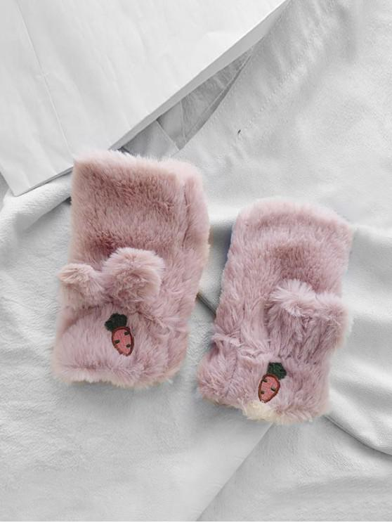 ladies Rabbit Ears Faux Fur Fingerless Mitten Gloves - PINK