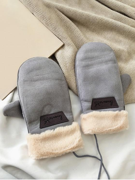 lady Animal Letter Fleece Mitten Gloves - GRAY