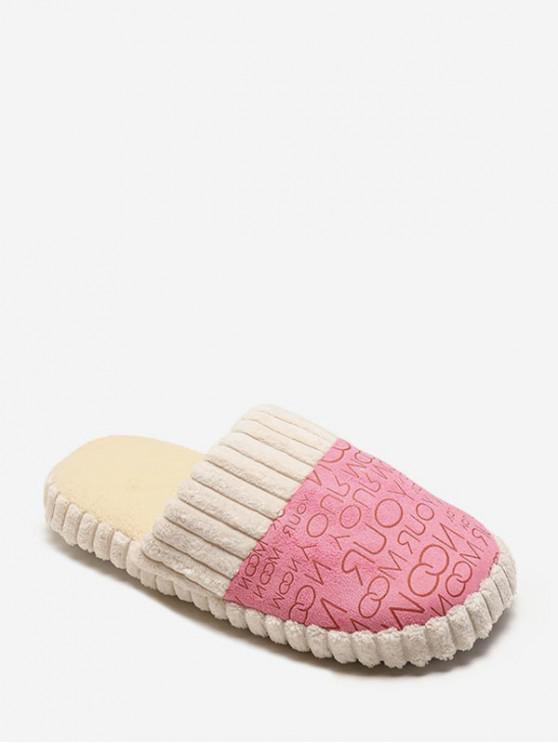 online Letter Print Fuzzy Indoor Flat Shoes - PINK EU 36