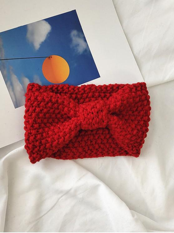 outfits Solid Bowknot Knitted Headband - RED
