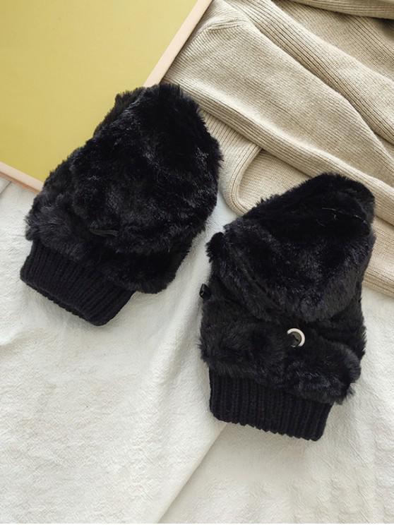 shops Button Faux Fur Fingerless Mitten Gloves - BLACK