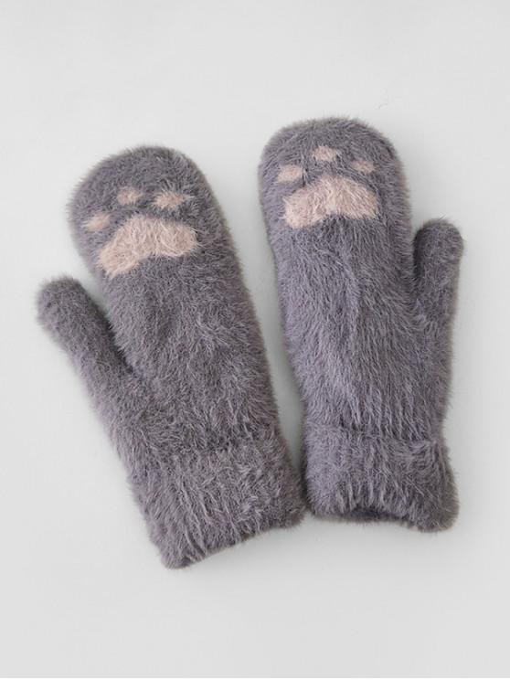 trendy Cat-pad Pattern Fleece Mitten Gloves - GRAY