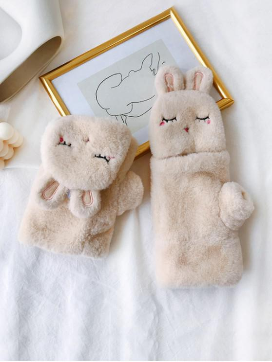chic Winter Furry Rabbit Pattern Gloves - APRICOT