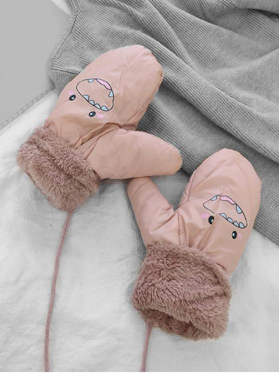 affordable Cartoon Pattern Fleece Mitten Gloves - PINK