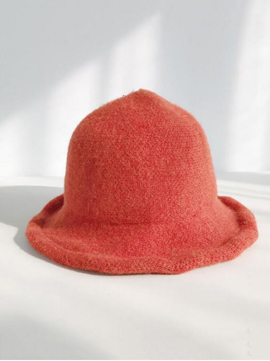 women Winter Wool Knitted Korean Bucket Cap - TANGERINE