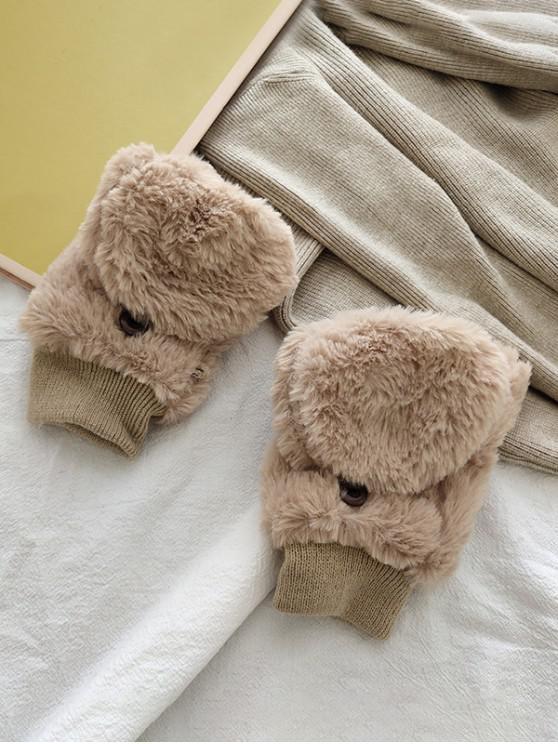 best Button Faux Fur Fingerless Mitten Gloves - KHAKI
