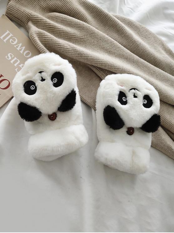 Gants Panda en Fausse Fourrure Sans Doigt - Blanc