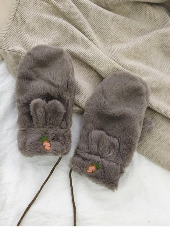 outfits Rabbit Ears Faux Fur Mitten Gloves - COFFEE