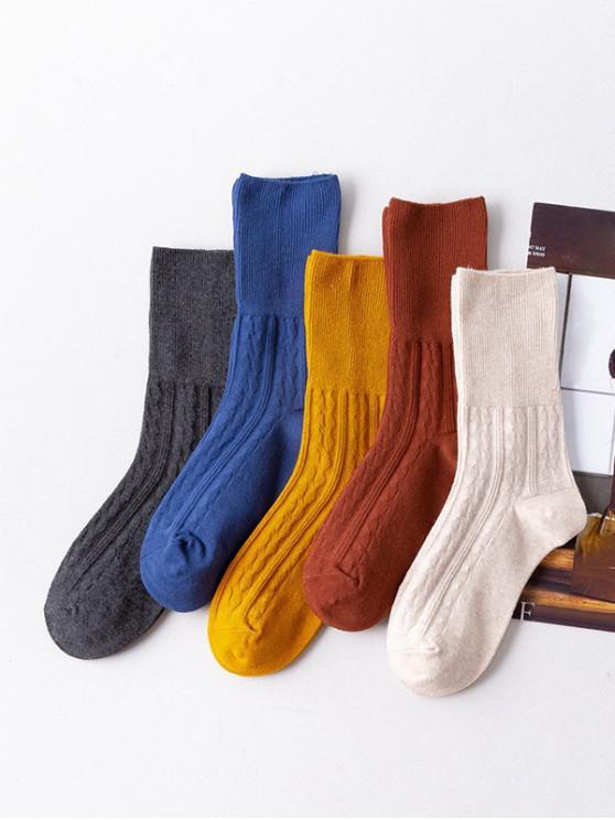 5Paar Verdrehte Viertel Socken Set - Multi-A