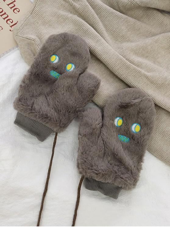 trendy Cartoon Faux Fur Mitten Gloves - GRAY