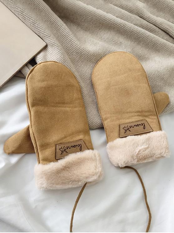 fashion Animal Letter Fleece Mitten Gloves - KHAKI