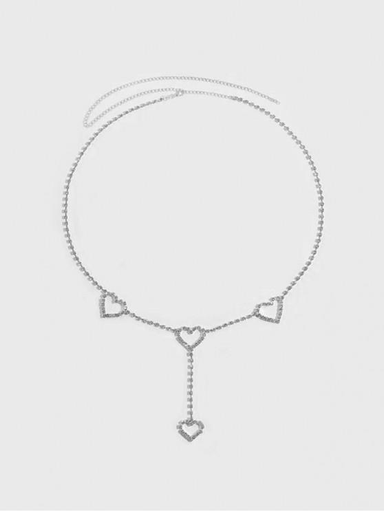 chic Hollow Heart Rhinestone Waist Chain - SILVER