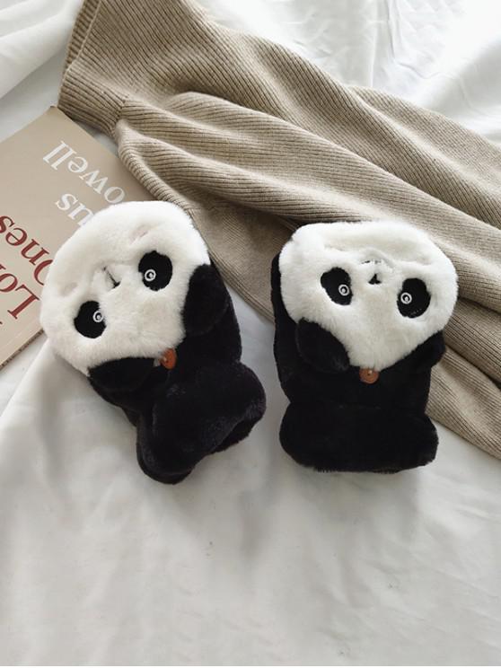 affordable Panda Faux Fur Fingerless Mitten Gloves - BLACK
