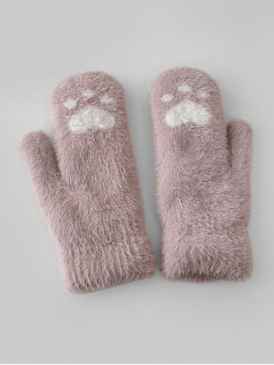ladies Cat-pad Pattern Fleece Mitten Gloves - PINK