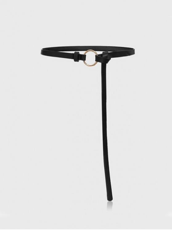 online Brief Ring PU Skinny Dress Belt - BLACK