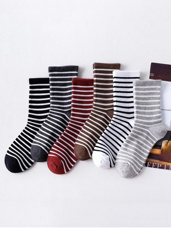 new 6 Pairs Striped Print Socks Set - MULTI-A