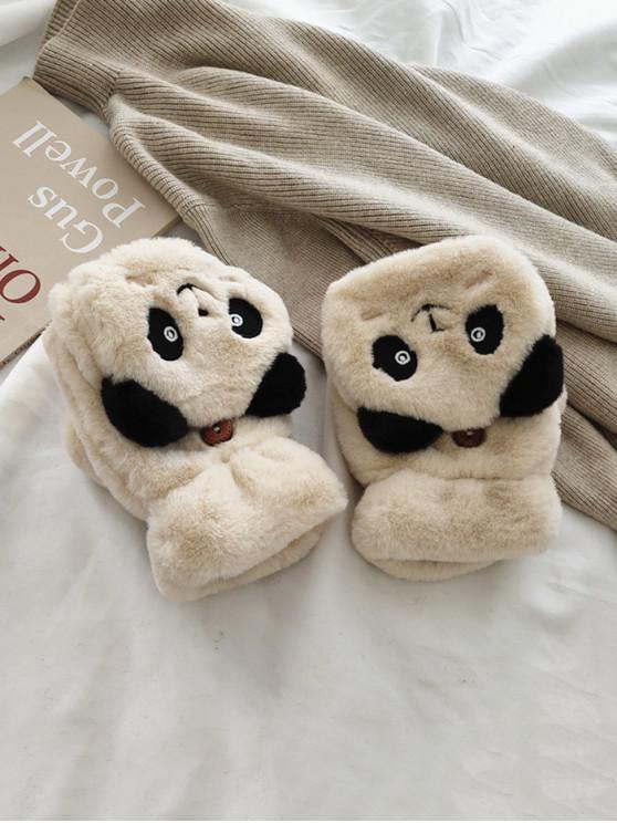 trendy Panda Faux Fur Fingerless Mitten Gloves - BEIGE