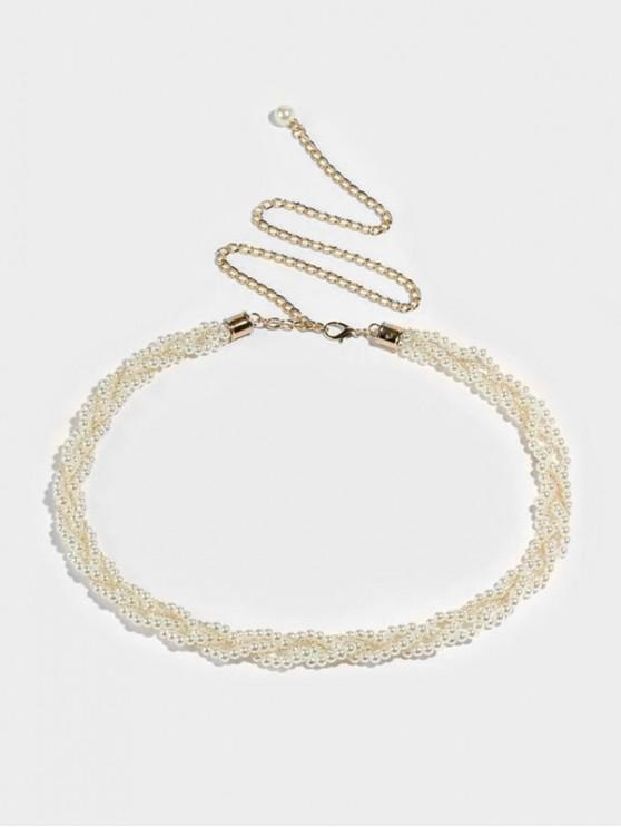 women's Faux Pearl Beaded Braid Waist Chain - MILK WHITE