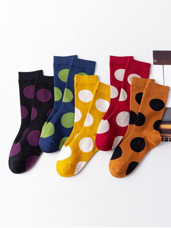 chic 5Pairs Polka Dot Print Socks Set - MULTI-A