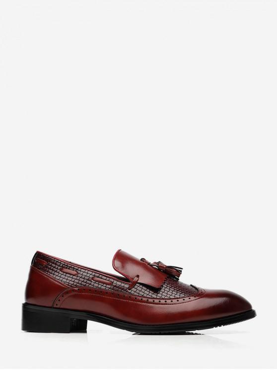Деловая Кожаная Классическая Обувь С бахромой Без шнуровки - Красный ЕС 40
