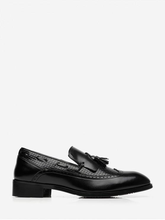Chaussures d'Affaires Tressées en Cuir à Frange - Noir EU 43