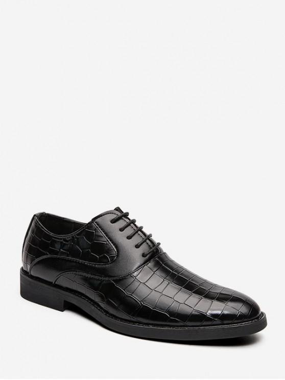Деловая Кожаная Обувь На шнуровке С тиснением животных - Чёрный ЕС 47