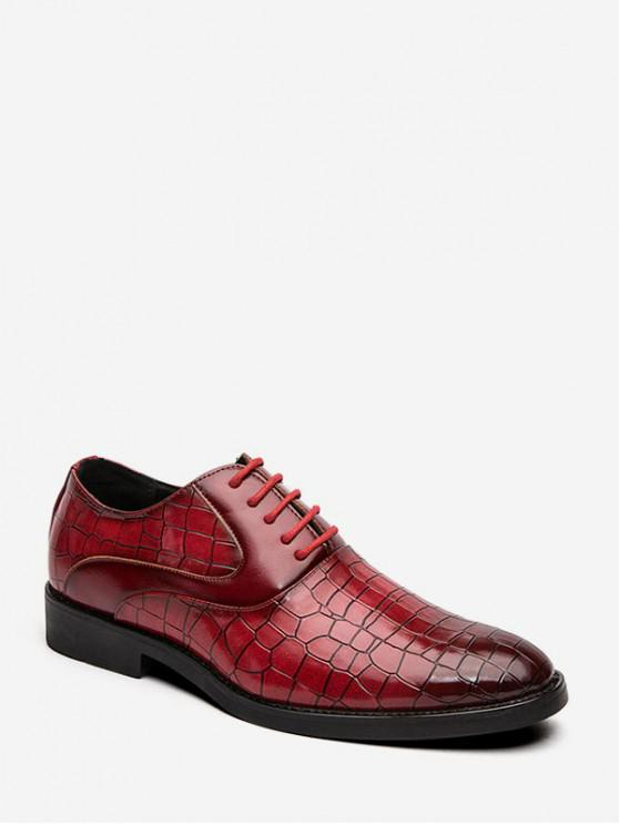 outfits Animal Embossed Lace Up Leather Business Shoes - RED EU 40