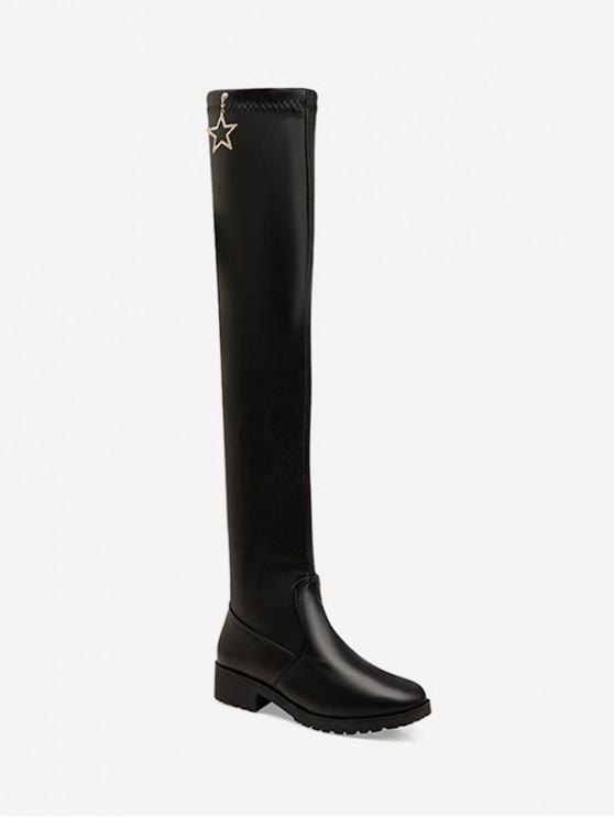 shop Rhinestone Star Leather Over The Knee Boots - BLACK EU 41