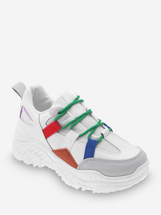 shops Color-blocking Breathable Outdoor Chunky Sneakers - WHITE EU 35